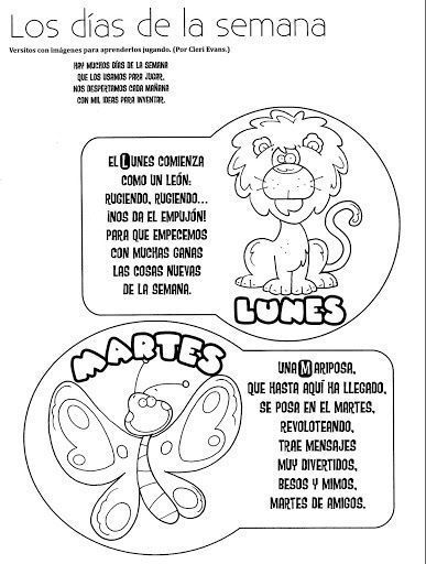 Days of the Week Spanish Coloring